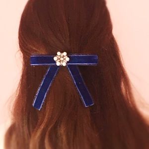One of a Kind Designer Navy Hair Bow